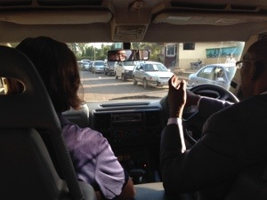 """Driving with Rotarian Sam and PP Sara up front through a """"terrible jam"""""""